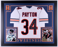 """Walter Payton Signed Bears 35x43 Custom Framed Jersey Inscribed """"Sweetness"""", """"75-87"""", """"Super Bowl XX"""" & """"16,726"""" (Payton COA) at PristineAuction.com"""