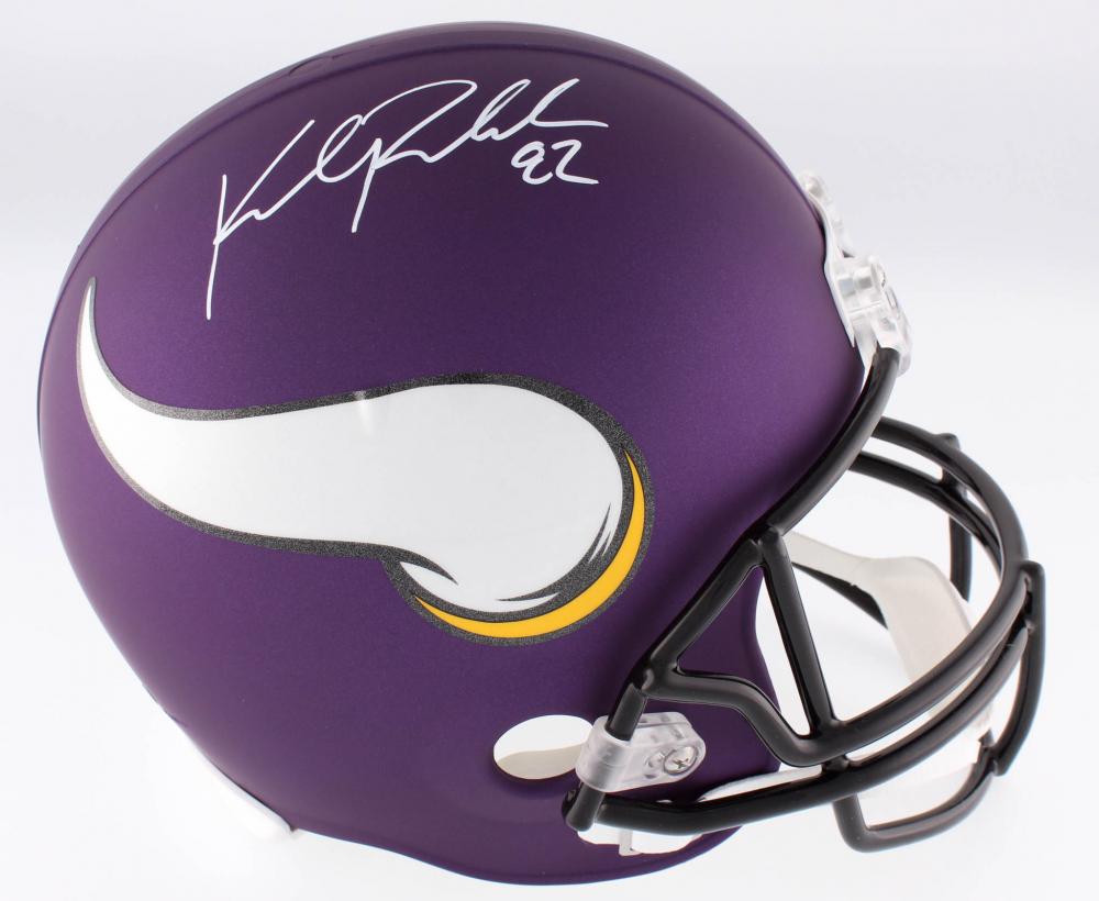 60ee38f4764 Kyle Rudolph Signed Vikings Custom Matte Purple Full-Size Helmet (JSA COA)  at