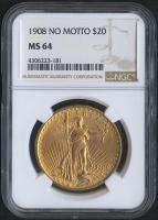 1908 $20 Saint-Gaudens Double Eagle Gold Coin - No Motto (NGC MS 64)