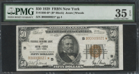 1929 $50 Fifty Dollars U.S. National Currency Bank Note - The Federal Reserve Bank of New York, New York (Star Note) (PMG 35) (EPQ)