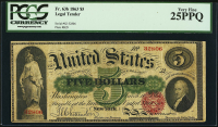 1863 $5 Five Dollars Legal Tender Large Bank Note (PCGS 25) (PPQ)