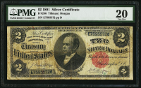 1891 $2 Two Dollars Silver Certificate Large Size Bank Note (PMG 20)