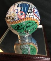 Mickey Mantle & Willie Mays Signed LE Baseball Hand-Painted by Charles Fazzino with High Quality Display Case (JSA LOA) at PristineAuction.com