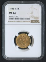 1886-S $5 Liberty Head Half Eagle Gold Coin (NGC MS 62)