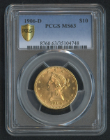 1906-D $10 Ten Dollars Liberty Head Eagle Gold Coin (PCGS MS 63)