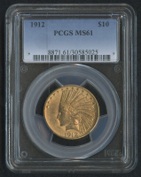 1912 $10 Ten Dollars Indian Head Eagle Gold Coin (PCGS MS 61)