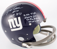 Y.A. Tittle Signed Giants Throwback Full-Size Suspension Helmet with (5) Stat Inscriptions (JSA COA) at PristineAuction.com