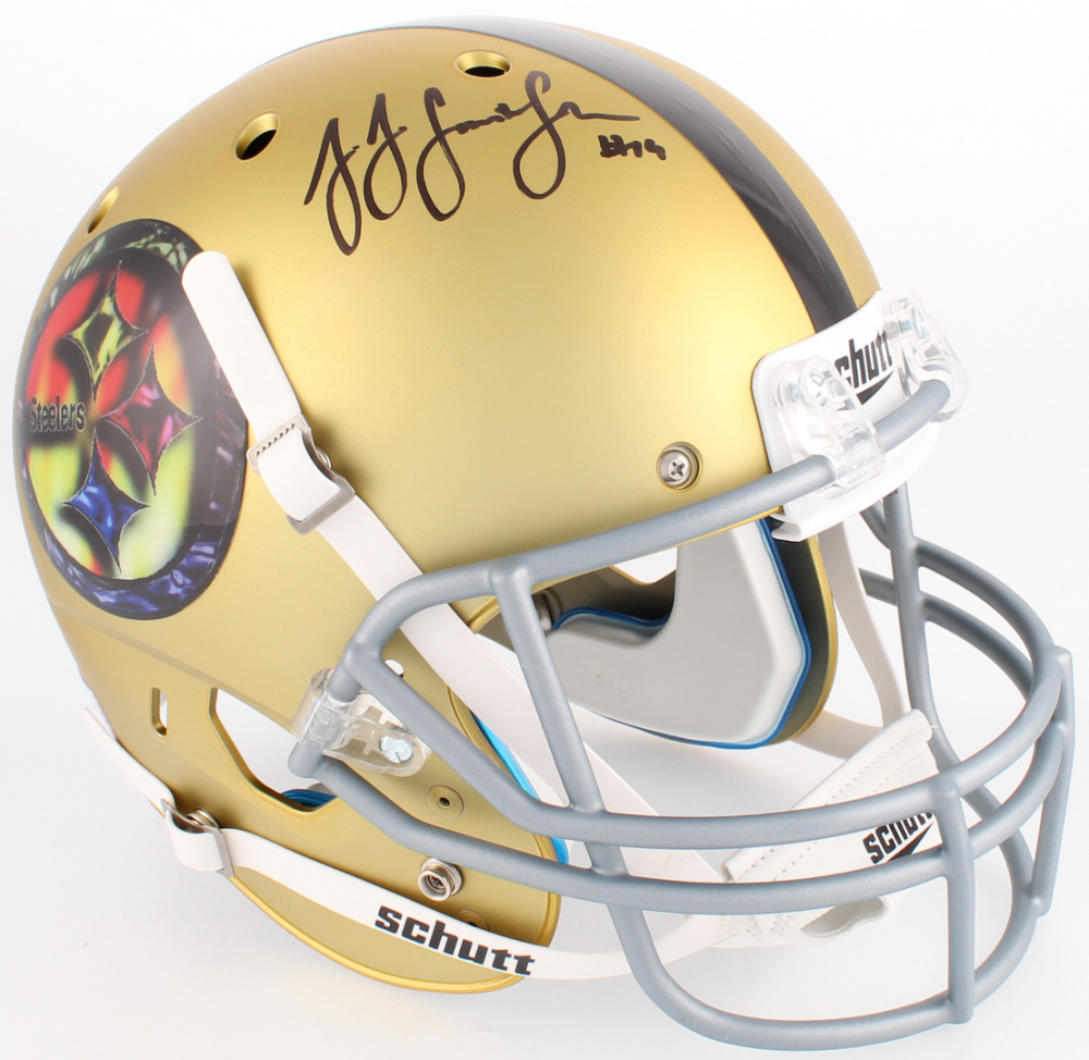 509fbb0b7b1 JuJu Smith-Schuster Signed Steelers Full-Size Custom Satin Gold Helmet (JSA  COA