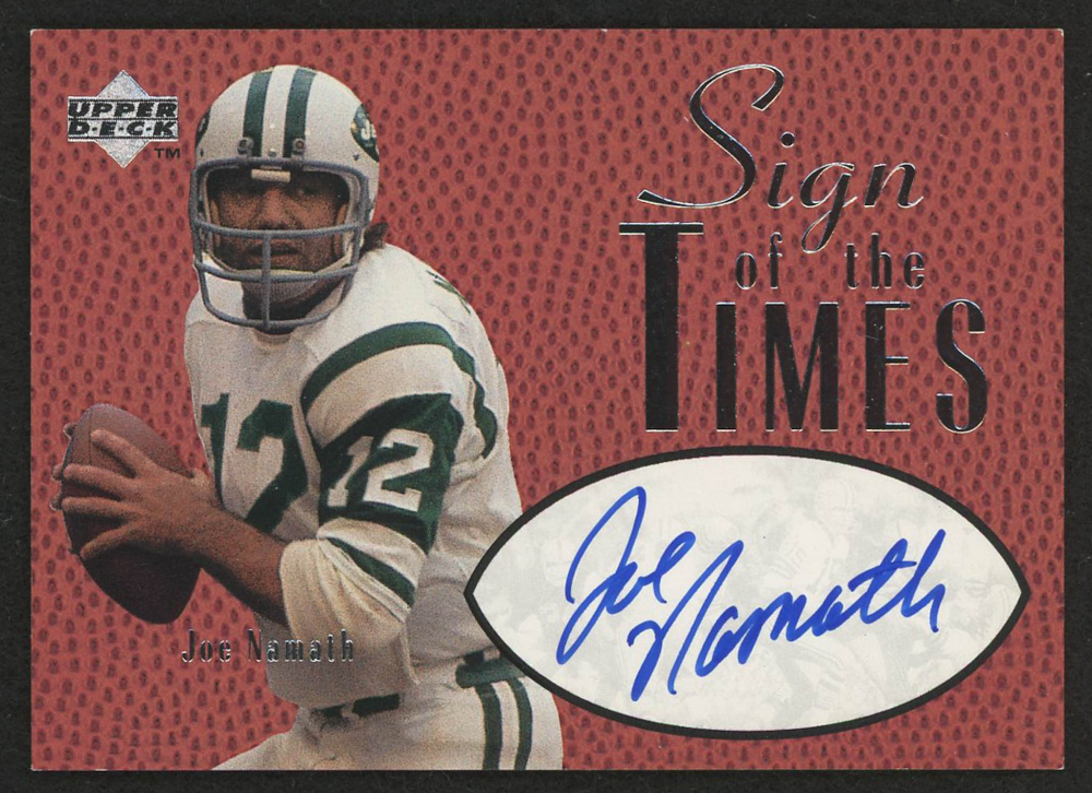 a070bdb3f01 1997 Upper Deck Legends Sign of the Times #ST4 Joe Namath at  PristineAuction.com