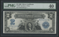 1899 $2 Two Dollars U.S. Silver Certificate Large Size Bank Note (PMG 40)