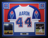 Hank Aaron Signed Atlanta Braves 35x43 Custom Framed Jersey Display (JSA COA)