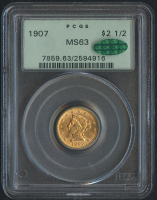 1907 $2.50 Liberty Head Gold Coin (PCGS MS 63) (CAC) at PristineAuction.com