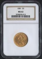 1881 $5 Liberty Head Half Eagle Gold Coin (NGC MS 62)