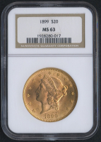 1899 $20 Liberty Head Double Eagle Gold Coin (NGC MS 63)
