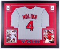 Yadier Molina Signed Cardinals 35x43 Custom Framed Jersey (JSA COA)