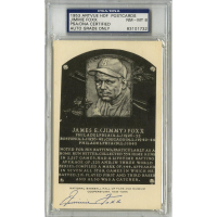 Jimmie Foxx Signed Gold HOF Postcard (PSA Encapsulated - Autograph Graded 8)