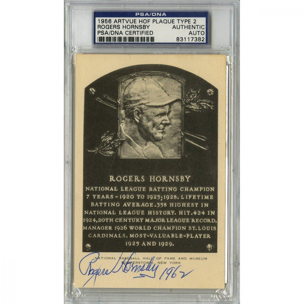 """Rogers Hornsby Signed Gold HOF Postcard Inscribed """"1962"""" (PSA Encapsulated) at PristineAuction.com"""