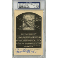 "Rogers Hornsby Signed Gold HOF Postcard Inscribed ""1962"" (PSA Encapsulated)"