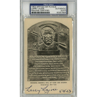 "Larry Lajoie Signed Gold HOF Postcard Inscribed ""5-8-53"" (PSA Encapsulated)"