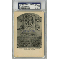Mel Ott Signed Gold Hall of Fame Postcard (PSA Encapsulated)
