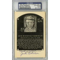 "Jackie Robinson Signed Gold Hall of Fame Postcard Inscribed ""Best Wishes"" (PSA Encapsulated)"