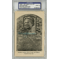 Tris Speaker Signed Gold Hall of Fame Postcard (PSA Encapsulated)