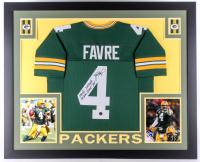 "Brett Favre Signed Packers 35x43 Custom Framed Jersey Inscribed ""508 TDS 71,838 YDS, 185 Wins, 3x MVP, '297'""(Favre COA)"