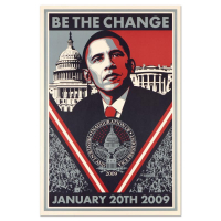 "Shepard Fairey ""Be the Change"" 24x36 Lithograph at PristineAuction.com"
