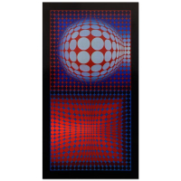 "Victor Vasarely 16x31 ""VP Host"" Heliogravure Print at PristineAuction.com"
