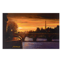 """Howard Behrens Signed """"Twilight on the Seine II"""" Limited Edition 27x17 Hand Embellished Giclee on Canvas at PristineAuction.com"""