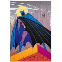 "Bob Kane Signed ""Batman Over Gotham"" Extremely Rare Limited Edition 24x36 Original Color Lithograph at PristineAuction.com"