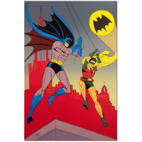 "Bob Kane Signed ""Batman & Robin"" Extremely Rare Limited Edition 24x36 Original Color Lithograph at PristineAuction.com"