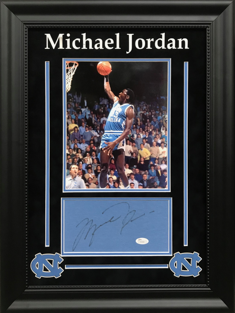 ff6923d8314 Michael Jordan Signed North Carolina Tar Heels 18x24 Custom Framed Signature  Cut Display (JSA LOA)