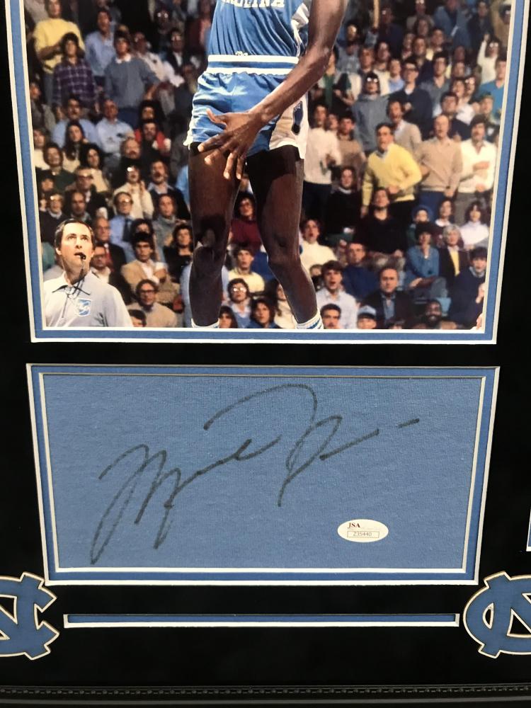 27f21c3044d Michael Jordan Signed North Carolina Tar Heels 18x24 Custom Framed Signature  Cut Display (JSA LOA