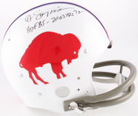 "O.J. Simpson Signed Bills Throwback Suspension Full-Size Helmet Inscribed ""HOF 85 - 2003 Yds '73"" (JSA COA) at PristineAuction.com"