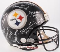 Steelers Hall of Fame Combo Full-Size Authentic On-Field Helmet Team-Signed By (12) With Jack Ham, Dermontti Dawson, Joe Greene, Franco Harris (JSA COA)