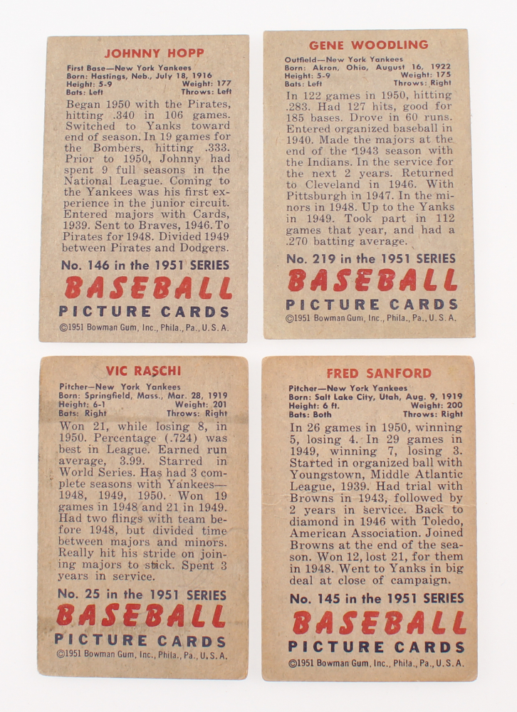 Lot Of 4 1951 Bowman Baseball Cards With 25 Vic Raschi