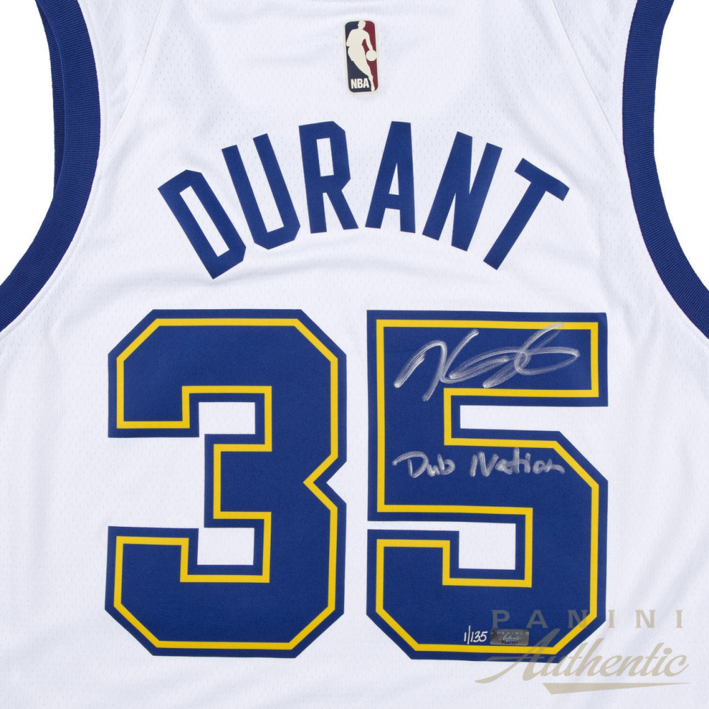 54125825960 Kevin Durant Signed LE Warriors Throwback Jersey Inscribed