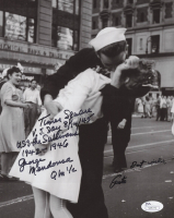 "George Mendonsa & Greta Friedman Signed ""VJ Day"" Iconic New York Times Square 8x10 Photo With Extensive Inscription (JSA COA)"