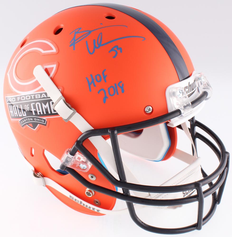 26f92a051 Brian Urlacher Signed Bears Commemorative Hall of Fame Custom Matte Orange  Full-Size Helmet Inscribed