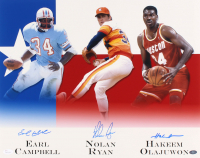Nolan Ryan, Earl Campbell & Hakeem Olajuwon Signed Houston Legends 16x20 Photo (JSA COA & Ryan Hologram) at PristineAuction.com