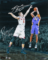 Kobe Bryant & Kristaps Porzingis Signed Lakers vs Knicks LE 16x20 Photo (Panini COA & Steiner COA) at PristineAuction.com