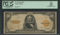 1922 $50 Fifty Dollars U.S. Gold Certificate Large Size Bank Note (PCGS 15)