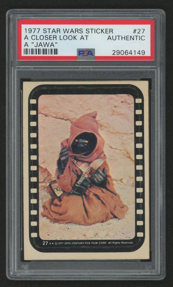 fabcd38f34b4 1977 Star Wars Stickers  27 A Closer Look at a Jawa (PSA Authentic)