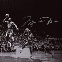 """Michael Jordan Signed Chicago Bulls """"We Have Lift Off"""" 18x36 Limited Edition Photo (UDA COA) at PristineAuction.com"""