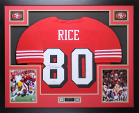 "Jerry Rice Signed 35"" x 43"" Custom Framed Jersey (PSA COA) at PristineAuction.com"