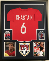 Brandi Chastain Signed Team USA 34x42 Custom Framed Jersey Display (JSA COA)
