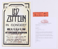 Lot of (2) Led Zeppelin Concert Items with (1) Concert Ticket & (1) 11x17 Concert Poster Print (Chicago Stadium Corporation LOA) at PristineAuction.com