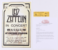 Lot of (2) Led Zeppelin Concert Items with (1) Concert Ticket & (1) 11x17 Concert Poster Print (Chicago Stadium Corporation LOA)