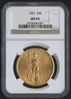 1927 $20 Saint-Gaudens Double Eagle Gold Coin (NGC MS 63)